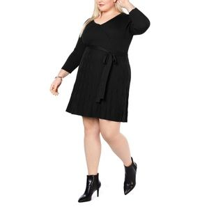 NY Collection Womens Knit Faux Wrap Sweaterdress